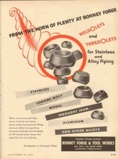 bonney forge tool works 1953 from the horn of plenty vintage ad