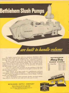 Bethlehem Supply Company 1953 Vintage Ad Oil Slush Pumps Handle Volume