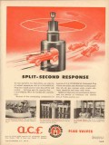 American Car Foundry 1953 Vintage Ad Split-Second Response Valve