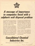 Consolidated Chemical Industries Inc 1953 Vintage Ad Disposal Problem