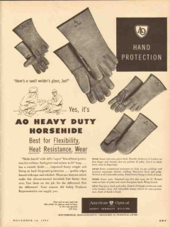 american optical company 1953 heavy duty horsehide gloves vintage ad