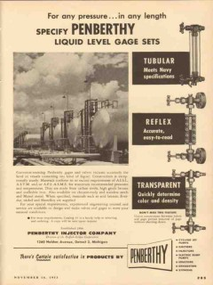 Penberthy Injector Company 1953 Vintage Ad Oil Liquid Level Gage Sets