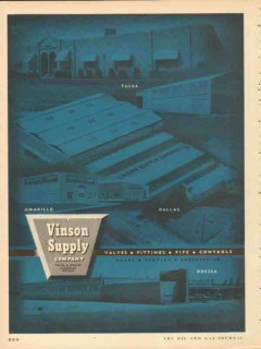 Vinson Supply Company 1953 Vintage Ad Oil Valves Fitting Pipe Controls