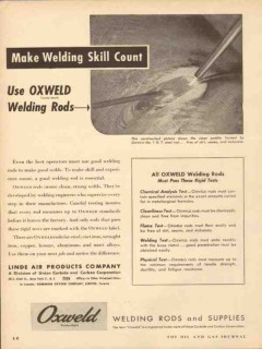 linde air products co 1953 skill use oxweld welding rods vintage ad