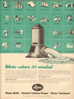 layne bowler inc 1953 pumps water where its needed vintage ad