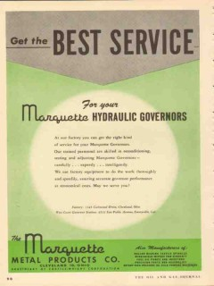 marquette metal products company 1953 best service governor vintage ad