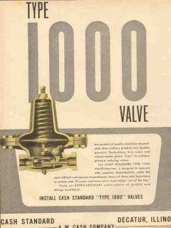 A W Cash Company 1953 Vintage Ad Oilfield Standard Type 1000 Valve