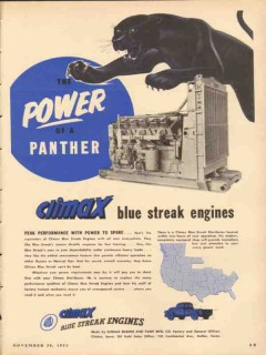Climax Engine Pump Mfg Company 1953 Vintage Ad Oil Field Power Panther