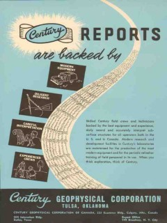 Century Geophysical Corp 1953 Vintage Ad Oil Seismic Reports Backed
