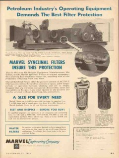 Marvel Engineering Company 1953 Vintage Ad Oil Field Filter Protection
