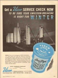 Visco Products Company 1953 Vintage Ad Oil Emulsion Breaking Winter