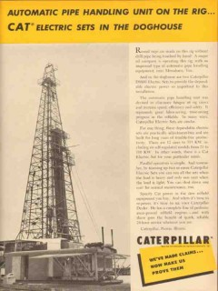 Caterpillar Tractor Company 1953 Vintage Ad Oil Pipe Handling Unit Rig