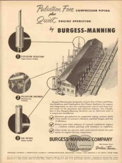 Burgess-Manning Company 1953 Vintage Ad Oil Quiet Compressor Piping