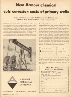 Armour Chemical Company 1953 Vintage Ad Oil Well Cuts Corrosion Costs