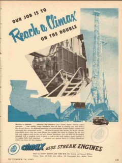 Climax Engine Pump Mfg Company 1953 Vintage Ad Oil Field Power Climax
