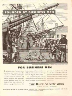 bank of new york 1953 founded by business men foreign trade vintage ad