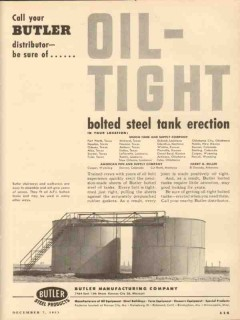 Butler Mfg Company 1953 Vintage Ad Oil Tight Bolted Steel Tank
