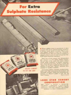 Lone Star Cement Corp 1953 Vintage Ad Oil Field Sulphate Resistance
