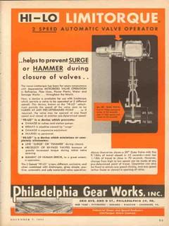 Philadelphia Gear Works 1953 Vintage Ad Oil Field Hi-Lo 2-Speed Valve
