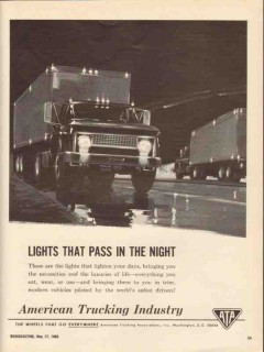 american trucking association 1965 lights pass in the night vintage ad