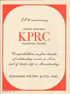 kprc 1965 houston tx radio station 40th anniversary service vintage ad