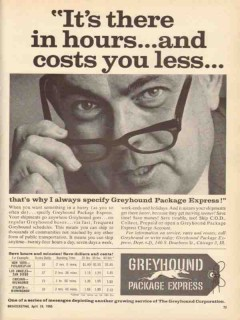 greyhound package express 1965 its there in hours cost less vintage ad