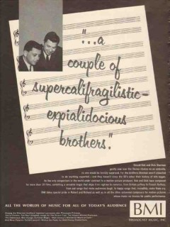 broadcast music inc 1965 bob and dick sherman songwriters vintage ad