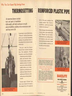 Bakelite Company 1953 Vintage Ad Thermosetting Reinforced Plastic Pipe