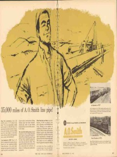 A O Smith Corp 1953 Vintage Ad Oil Line Pipe Casing 35000 Miles