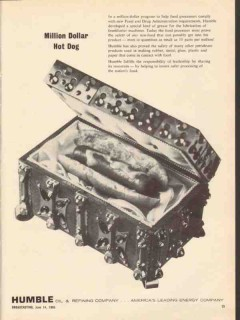 Humble Oil Refining Company 1965 Vintage Ad Million Dollar Hot Dog