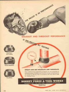 Bonney Forge Tool Works 1953 Vintage Ad Oil Fittings Proof Performance