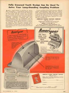 American Flexible Coupling Company 1953 Vintage Ad Fully Crown Tooth