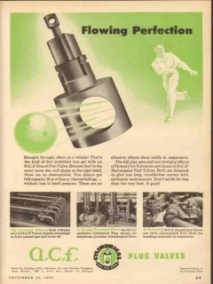 American Car Foundry 1953 Vintage Ad Flowing Perfection Port Valve