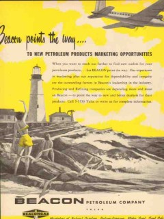 Beacon Petroleum Company 1953 Vintage Ad Oil Products Points Marketing