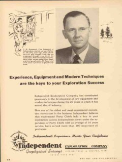 Independent Exploration Company 1953 Vintage Ad Oil C H Broussard VP