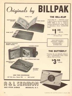 A L Seamon Company 1950 Vintage Ad Leather Billpak Wallet Bill-Klip