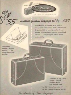 Abel Bach Inc 1950 Vintage Ad Luggage Stetson 55 Famous Set ABC