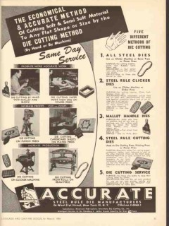Accurate Steel Rule Die Manufacturers 1950 Vintage Ad Cutting Methods