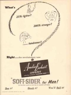 Amelia Earhart Luggage Company 1950 Vintage Ad Lighter Stronger
