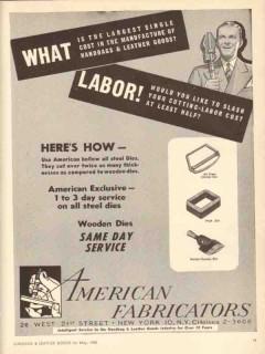 American Fabricators Inc 1950 Vintage Ad Leather Goods Handbags Labor