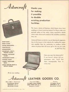 Astorcraft Leather Goods Company 1950 Vintage Ad Double Production