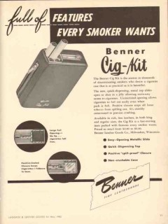 Benner Leather Goods Company 1950 Vintage Ad Cig-Kit Features Wants