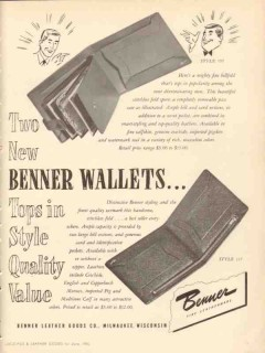 Benner Leather Goods Company 1950 Vintage Ad Wallet Style Quality