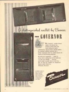 Benner Leather Goods Company 1950 Vintage Ad Wallet Governor