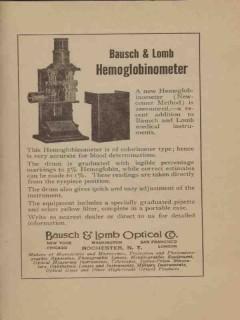 bausch lomb optical company 1922 hemoglobinometer vintage ad