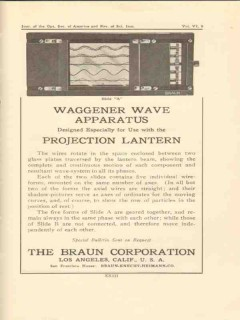 braun corporation 1922 waggener wave apparatus vintage ad