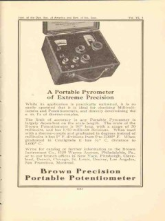 brown instrument company 1922 portable pyrometer precision vintage ad
