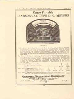 central scientific company 1922 darsonval type dc meters vintage ad
