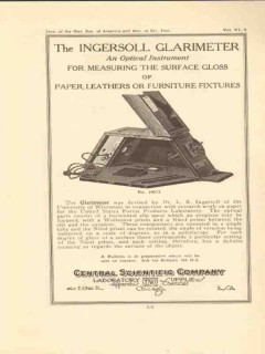 central scientific company 1922 ingersoll glarimeter vintage ad