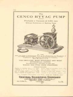 central scientific company 1922 the cenco hyvac pump vacuum vintage ad